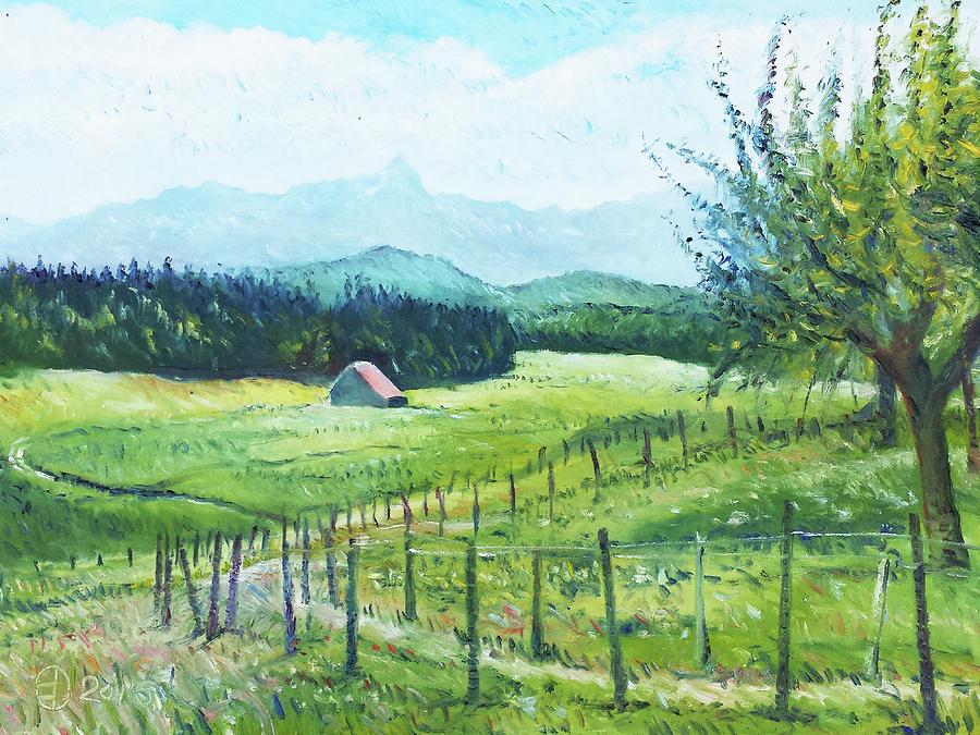 Impressionism Painting - Alps From Geneva Switzerland 2016 by Enver Larney