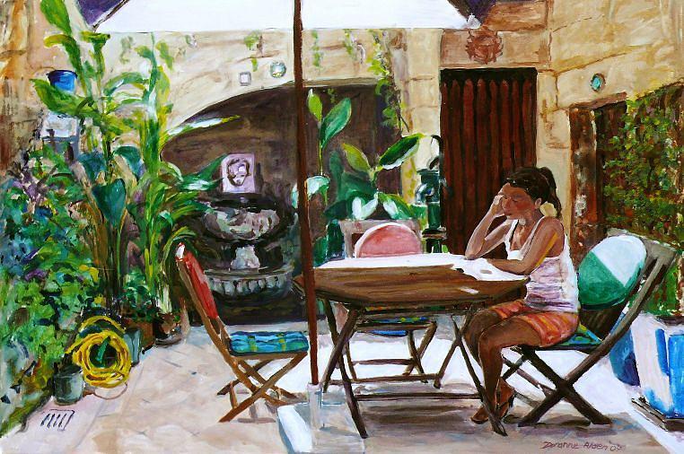 People Painting - Als Quiet Corner by Doranne Alden