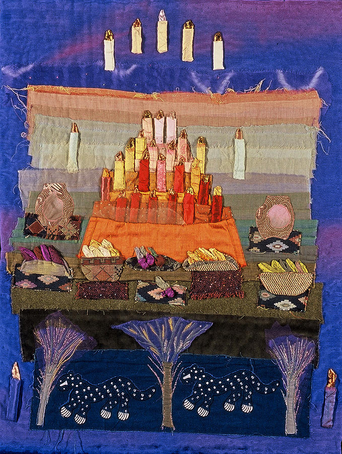 Art Quilt Tapestry - Textile - Altar With Trees by Roberta Baker