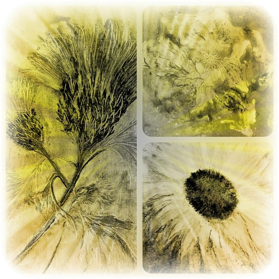 Yellow Digital Art - Altered Florals by Carol Rowland