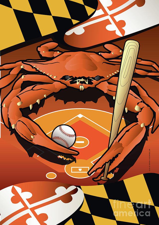 Maryland Digital Art - Baltimore Orioles Baseball Crab Maryland by Joe Barsin