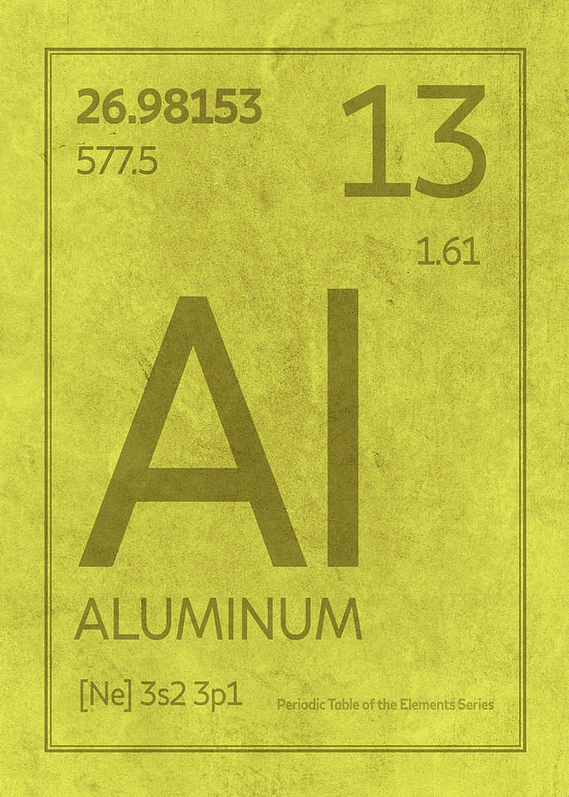 Aluminum Element Symbol Periodic Table Series 013 Mixed Media By