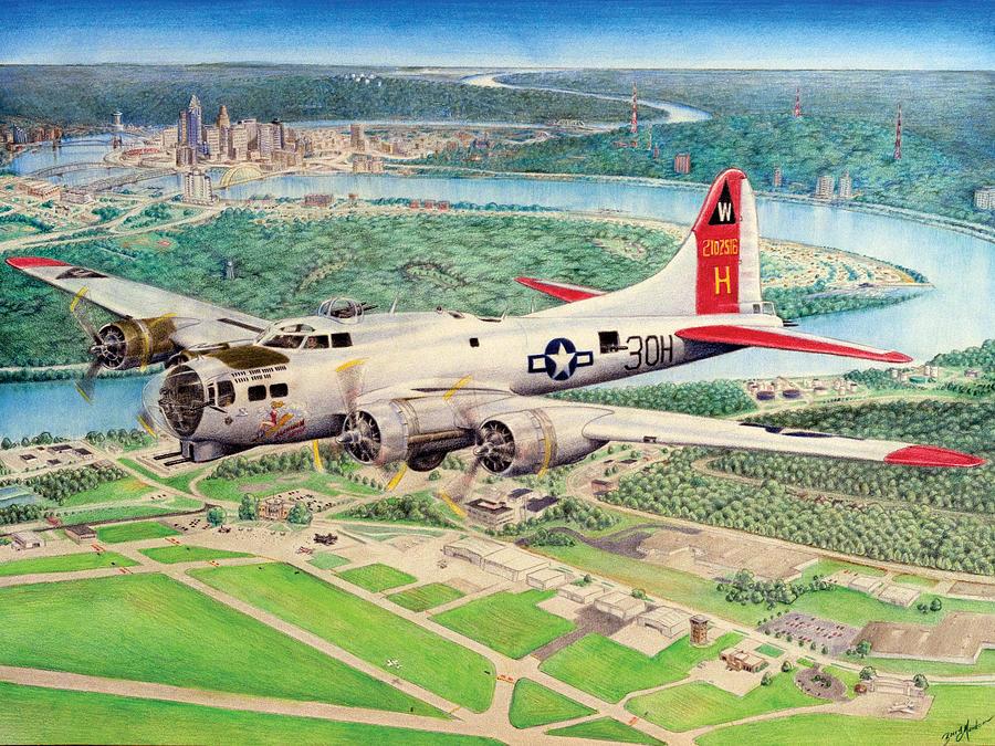 B-17 Digital Art - Aluminum Overcast by Barry Munden