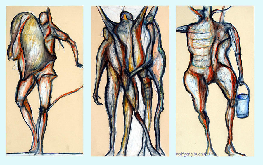 Figures Drawing - Always Three - Number Four by Wolfgang - bookwood - Buchholz