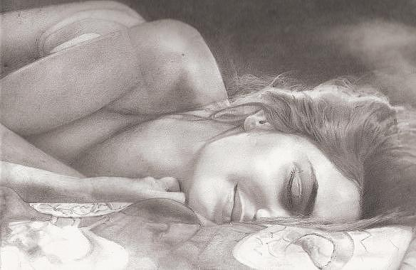 Female Form Drawing - Alyssa by Linda Mason