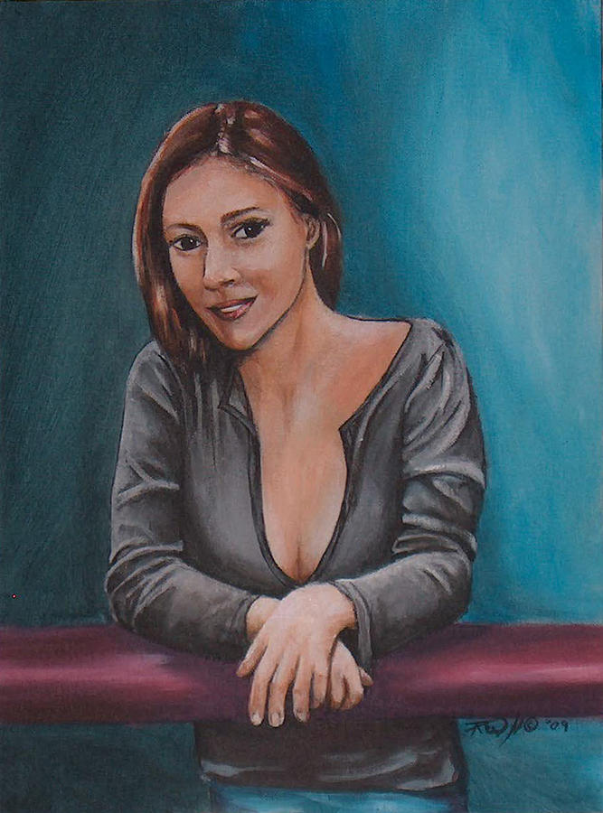 Portrait Painting - Alyssa Milano by Rusty W Hinshaw