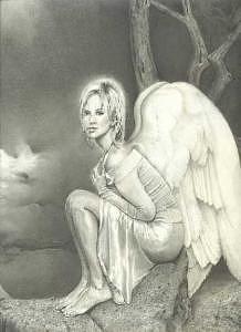 Anel Drawing - Alyssas Angel by Linda Mason