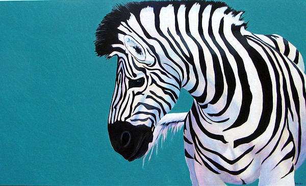 Zebra Painting - Am I Black And White Or White And Black by Scott Gordon