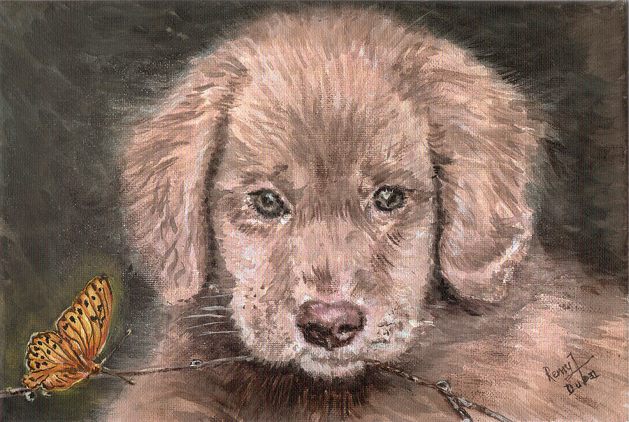 Puppy Painting - Irish Setter Puppy Dog And Orange Butterfly by Remy Francis