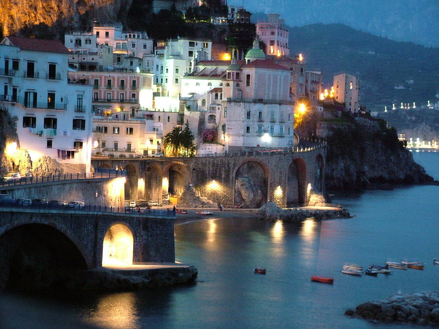 Amalfi Coast at Night by Donna Corless