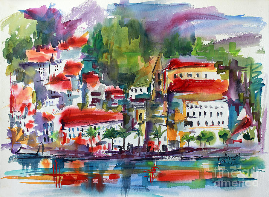 Amalfi Coast Italy Expressive Watercolor Painting by Ginette Callaway