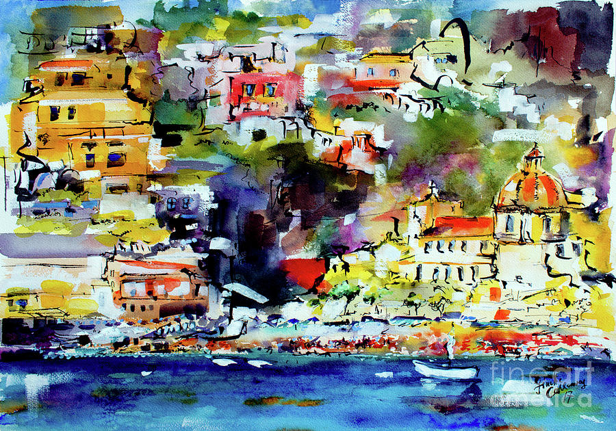 Amalfi Coast Positano Summer Vibrations Painting by Ginette Callaway