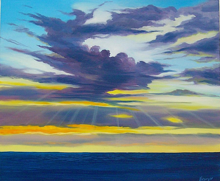 Skyscape Painting - Amanecer by Enrique Alcaraz
