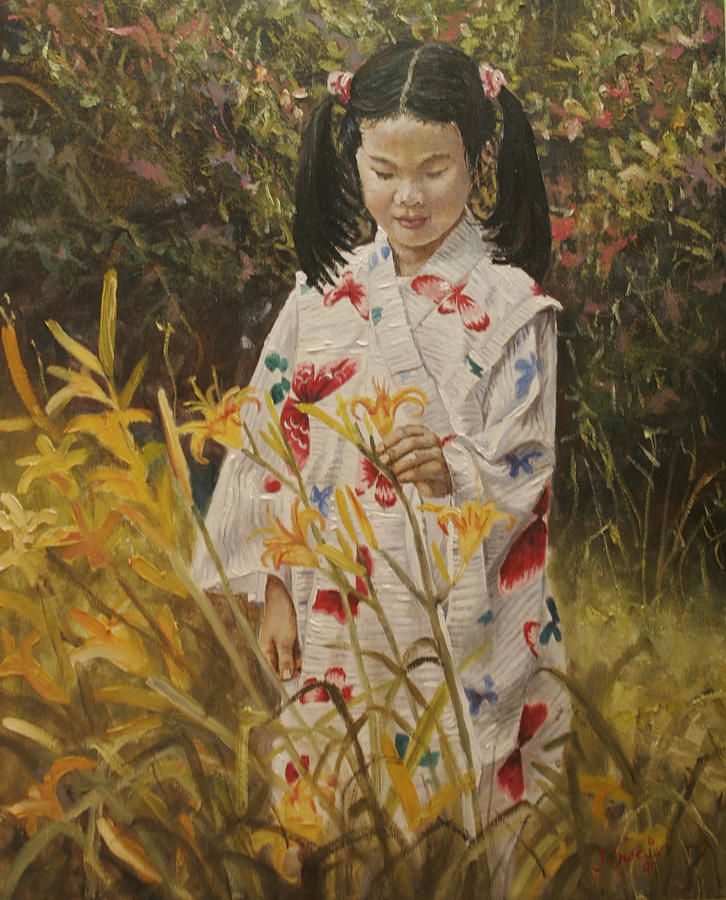 Portrait Painting - Amara with Lillies by Jason  Swain
