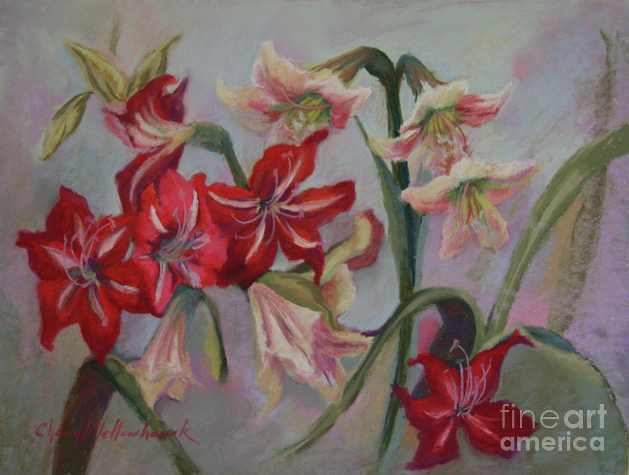 Nature Painting - Red And White Lilies by Cheryl Yellowhawk