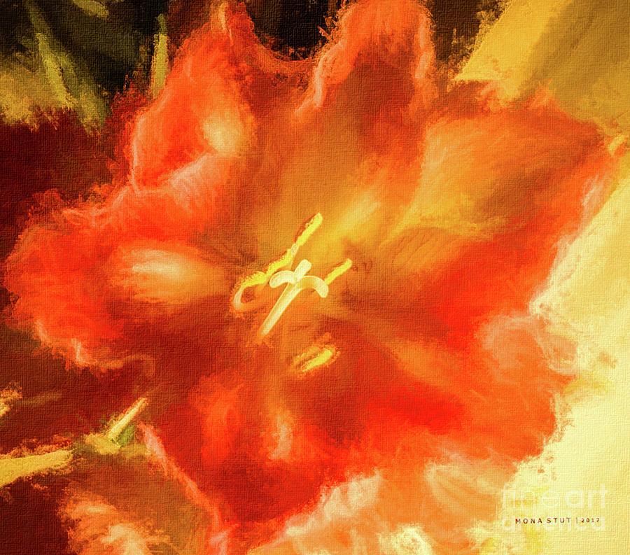 Amaryllis Orange Yellow Red Mixed Media