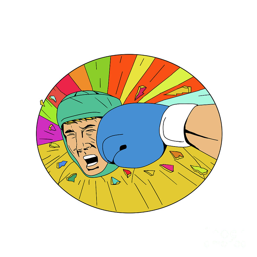 Drawing Digital Art - Amateur Boxer Hit By Glove Punch Oval Drawing by Aloysius Patrimonio