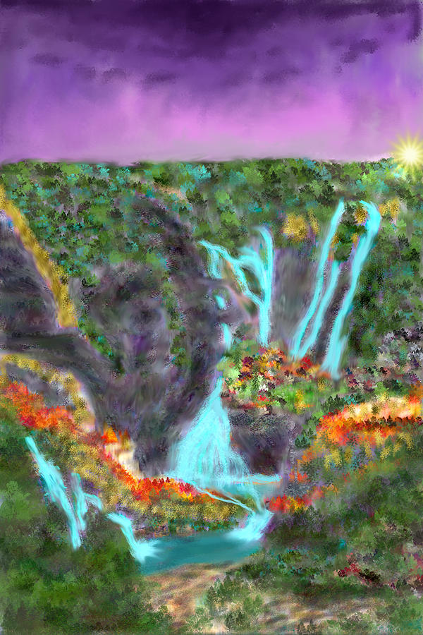 Falls Digital Art - Amaze Falls by Kab