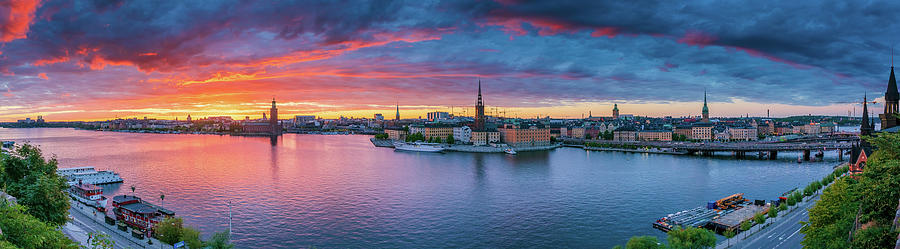 Fiery Photograph - Dramatic sunset over Stockholm by Dejan Kostic