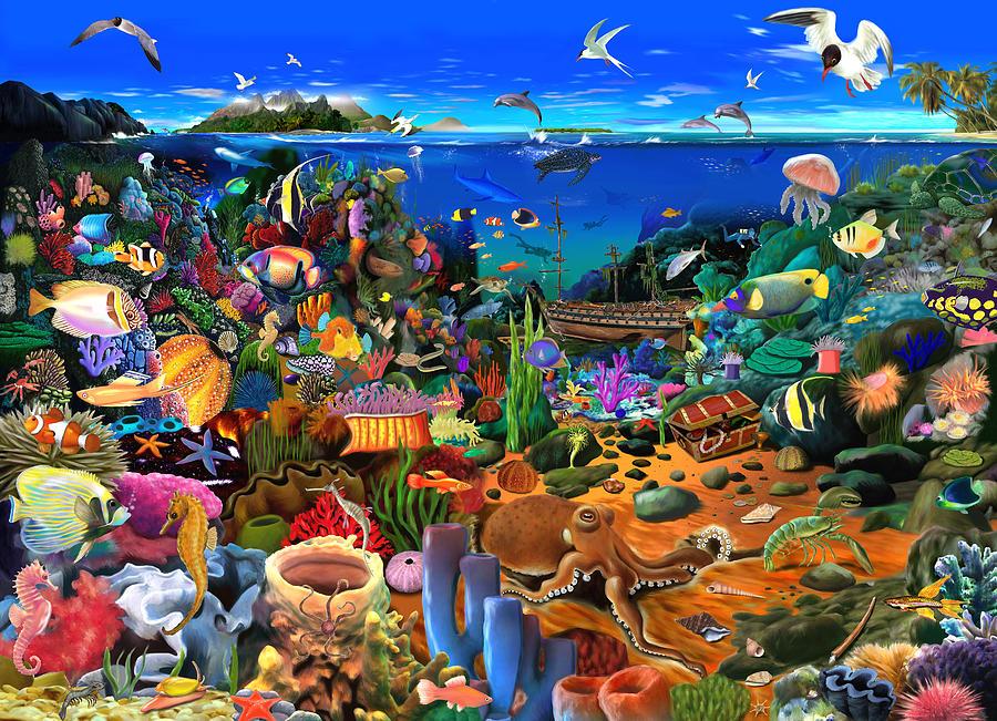 Ocean Digital Art - Amazing Coral Reef by MGL Meiklejohn Graphics Licensing