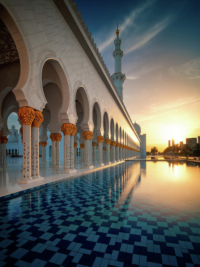 Islam Photograph - Amazing Sunset View At Mosque, Abu Dhabi, United Arab Emirates by Marek Kijevsky