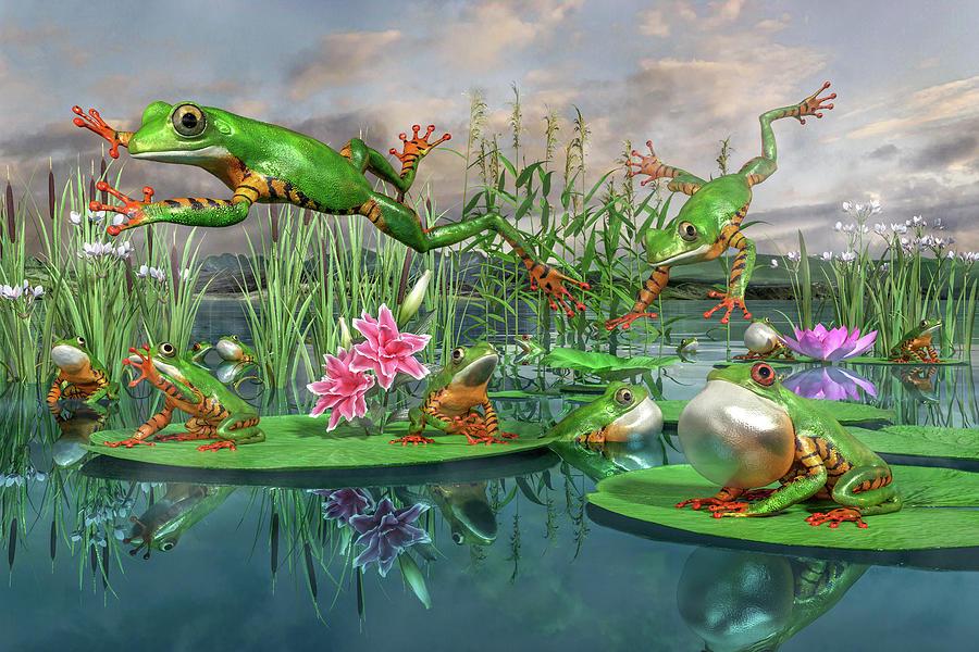 Amazon Frogs Welcoming Spring Digital Art