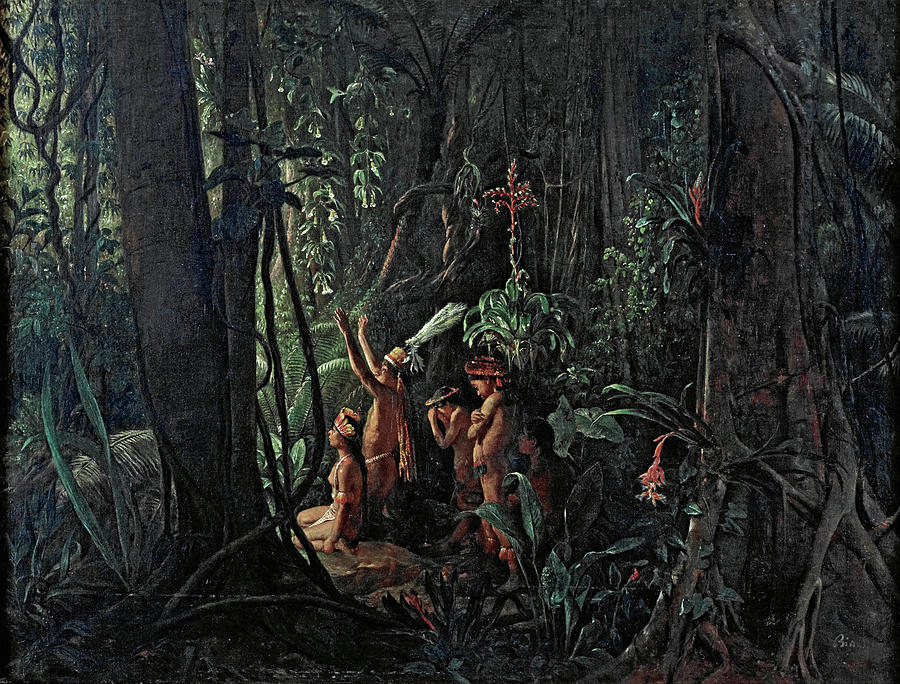 Famous Paintings Painting - Amazonian Indians Worshiping The Sun God by Francois-Auguste Biard