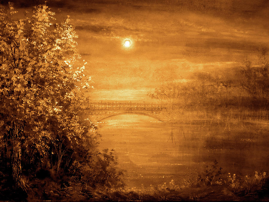 Hand Painted Painting - Amber Bridge by Ann Marie Bone