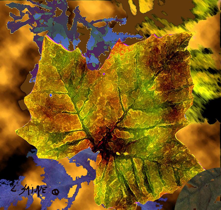 Amber leaf digital art by carolyn saine for Amber leaf