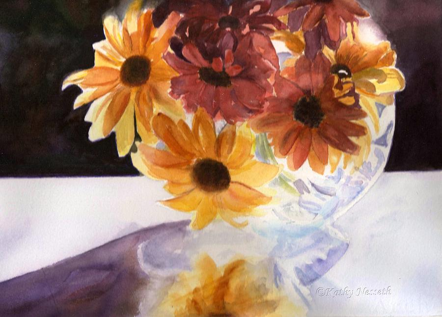 Watercolor Painting - Amber Mums by Kathy Nesseth