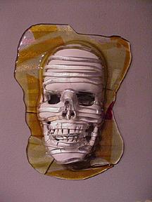 Fused Sculpture - Amber Skull by David Morgan