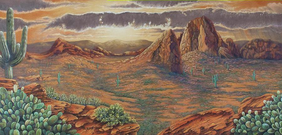 Landscape Drawing - Amber Sky by Teresa Frazier