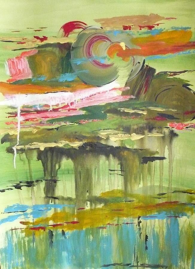 Abstract Painting - Amber Waves by Yael Eylat-Tanaka