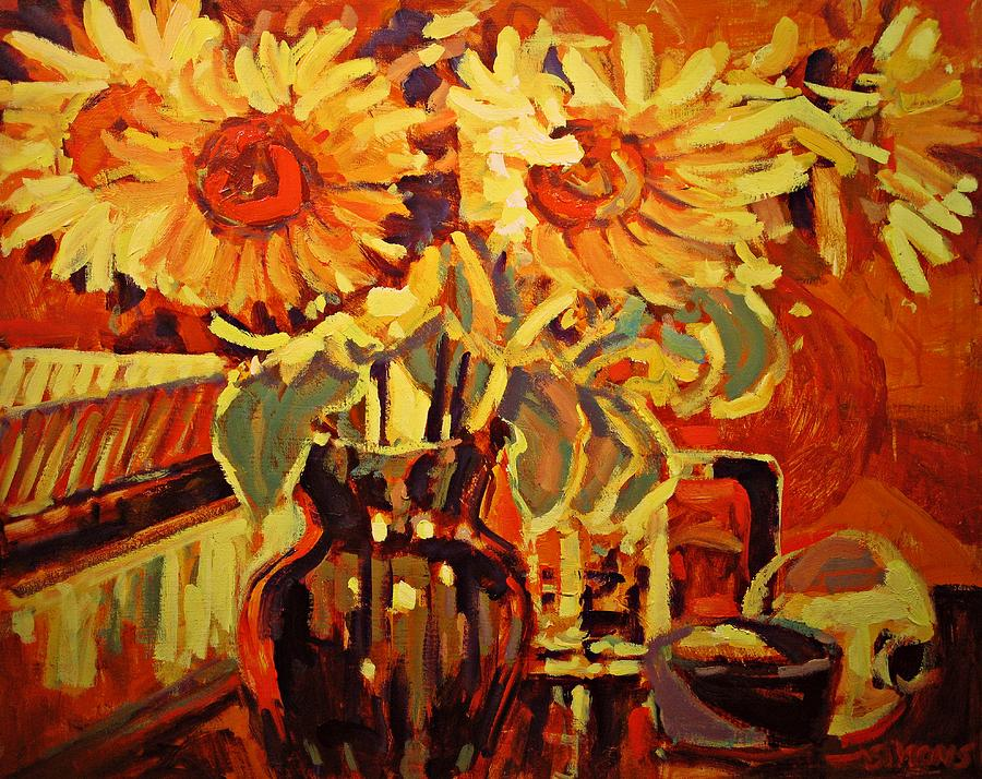 Flower Painting - Ambers Sunflowers by Brian Simons