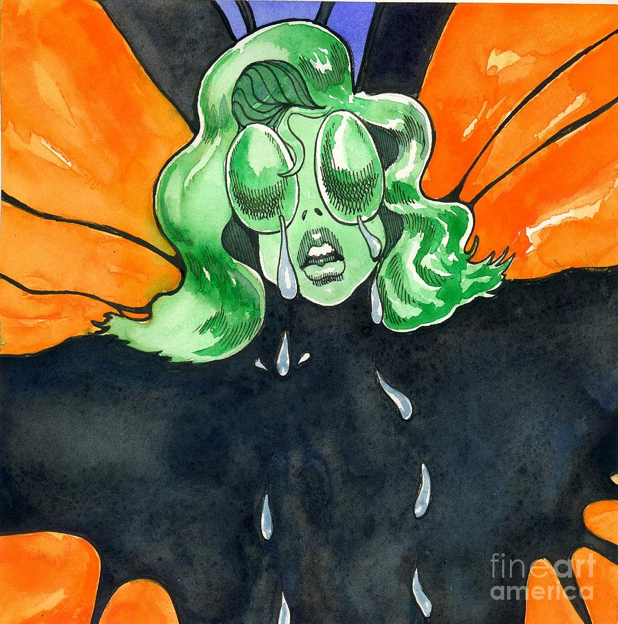 Illustration Painting - Amelia Butterfly In Tears by Robert  Myers