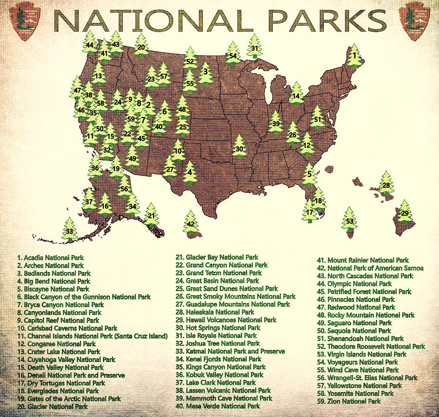 America National Parks Map