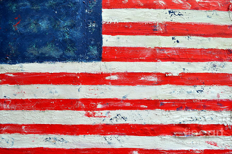 Flag Painting - America by Nicky Dou