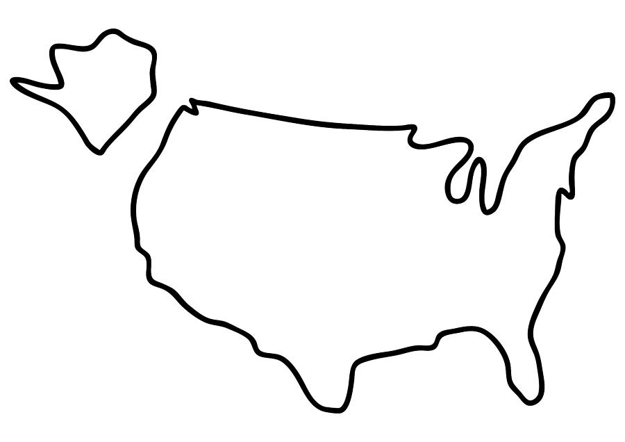 america USA map Drawing by Lineamentum
