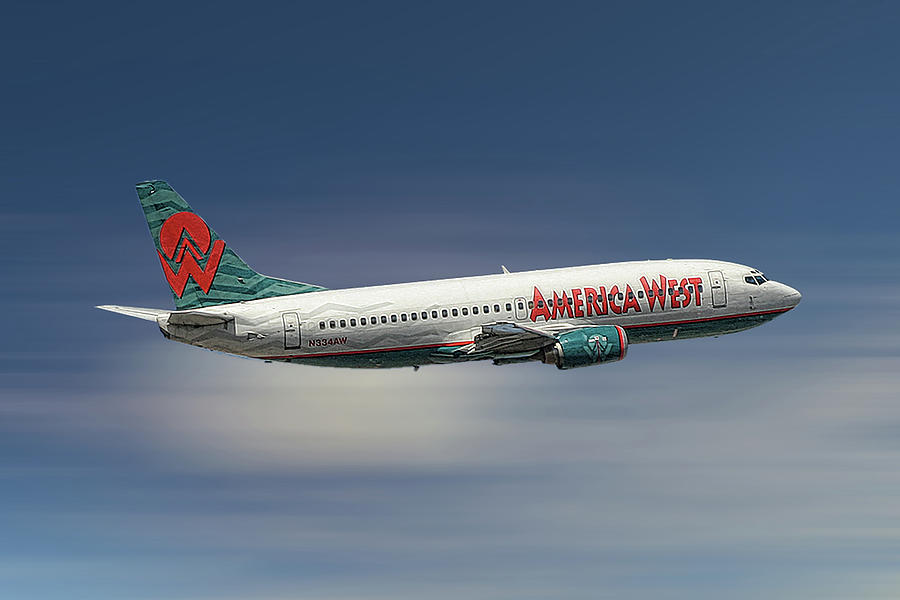 America West Mixed Media - America West Boeing 737-300 by Smart Aviation