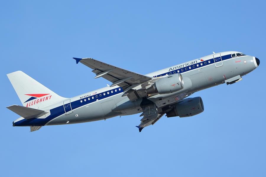 Airplane Photograph - American Airbus A319-112 N745vj Allegheny Vistajet Phoenix Sky Harbor January 19 2016 by Brian Lockett