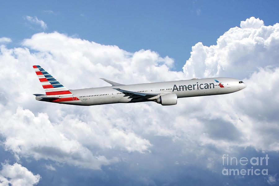 American Airlines Boeing 777 Digital Art