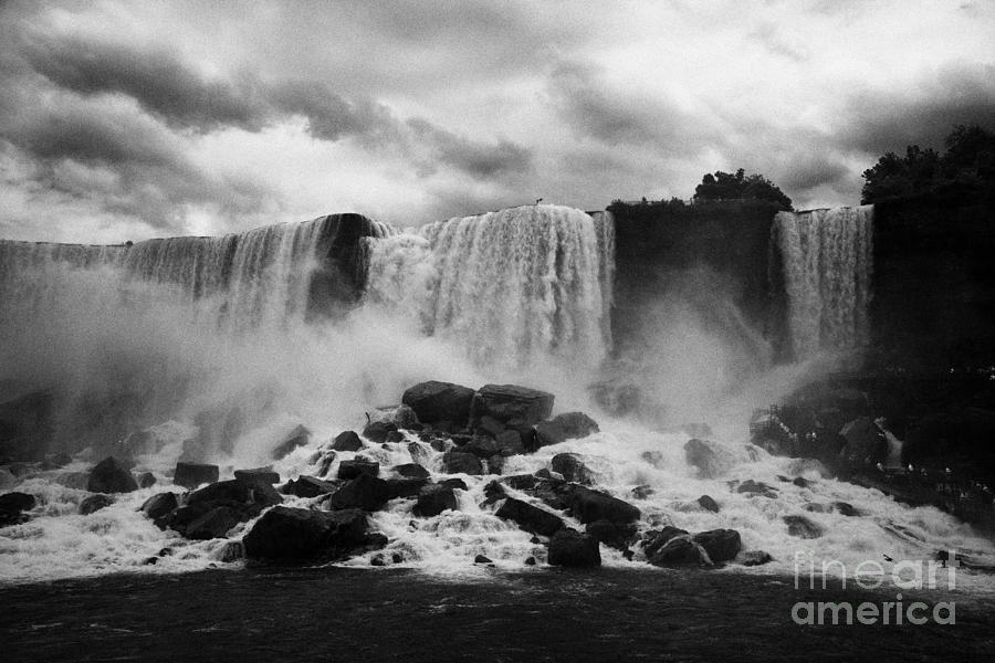 Niagara Falls Photograph - American And Bridal Veil Falls With Luna Island And Deposited Talus Niagara Falls New York State Usa by Joe Fox