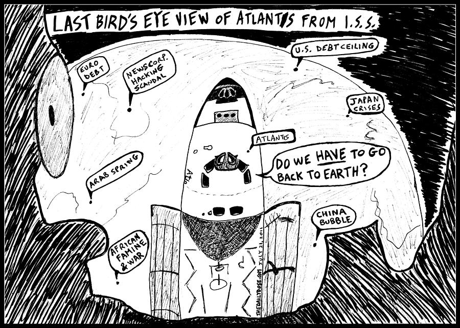 American Astronauts Ready For A Hard Landing Drawing By
