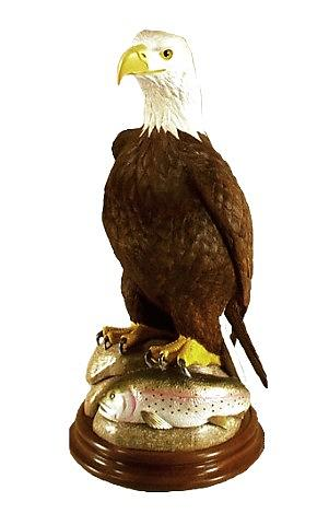 Sculpture Sculpture - American Bald Eagle With Rainbow Trout by Peter Vaice