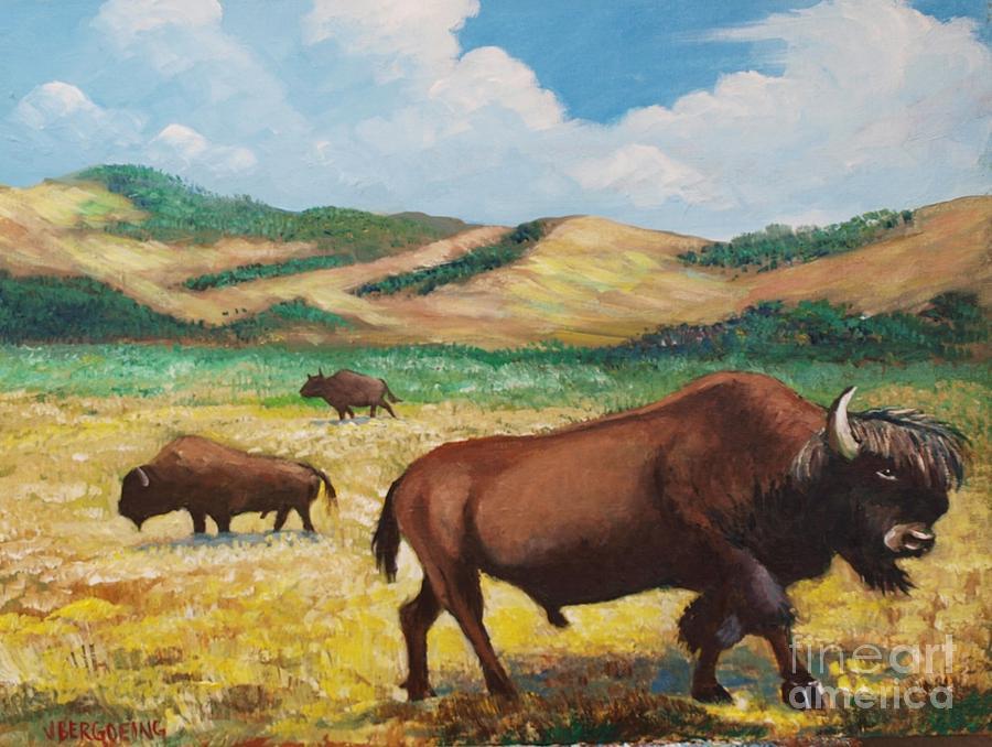 Bison Painting - American Bison by Jean Pierre Bergoeing