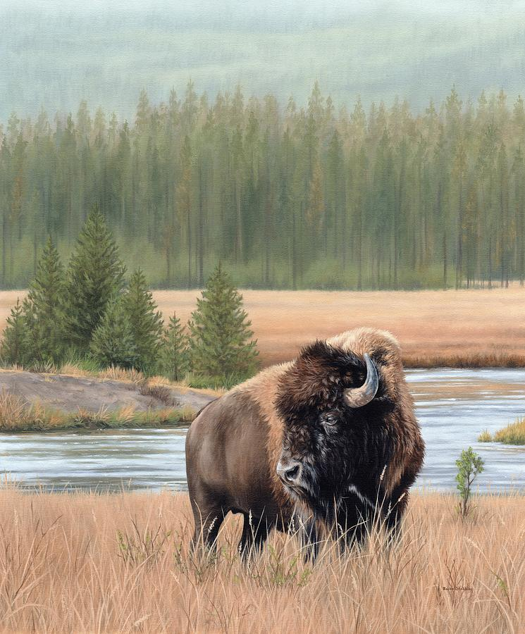American Bison Oil Painting by Rachel Stribbling