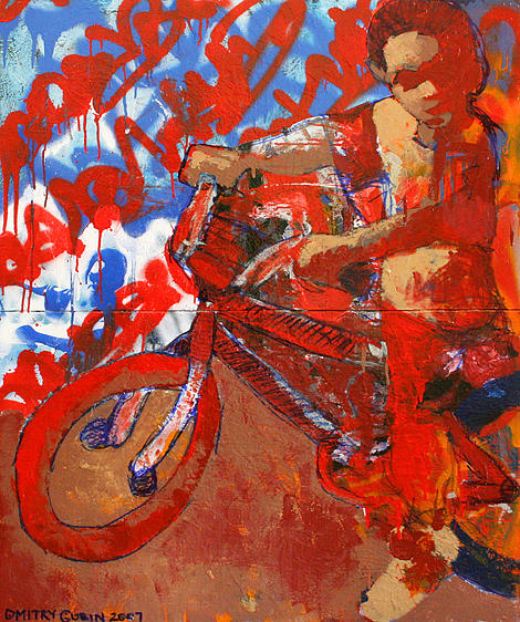 Bicycle Painting - American boy by Dmitry Gubin
