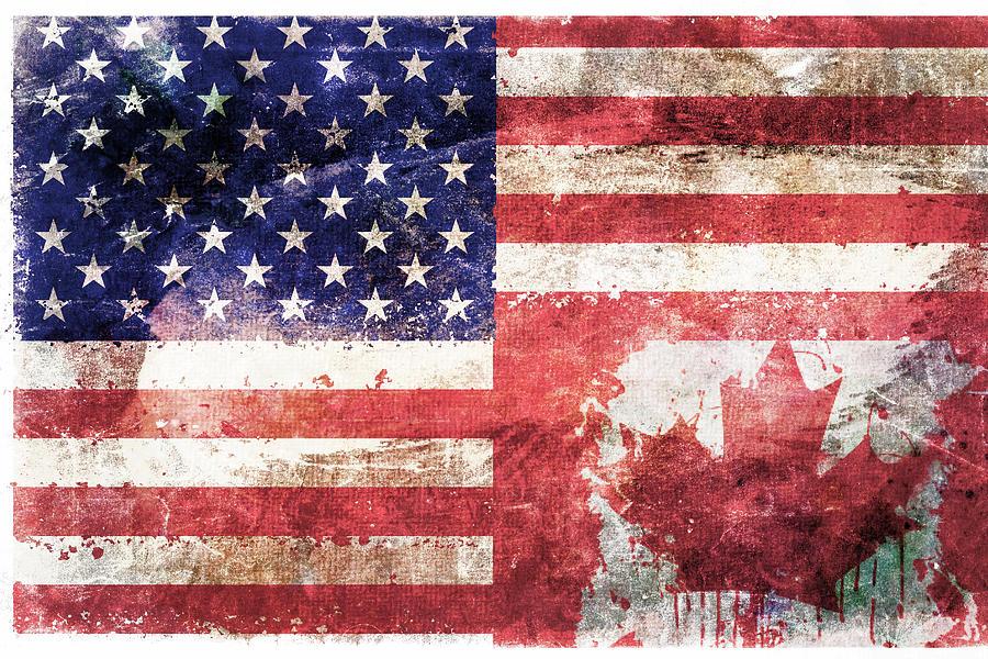 American Canadian Tattered Flag Digital Art
