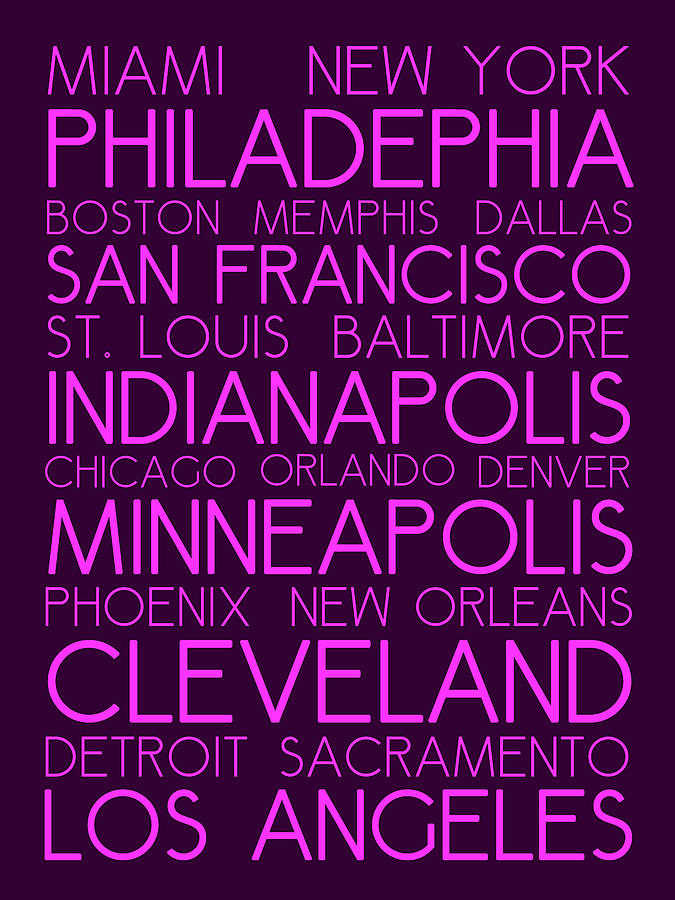 American Cities In Bus Roll Destination Map Style Poster Painting