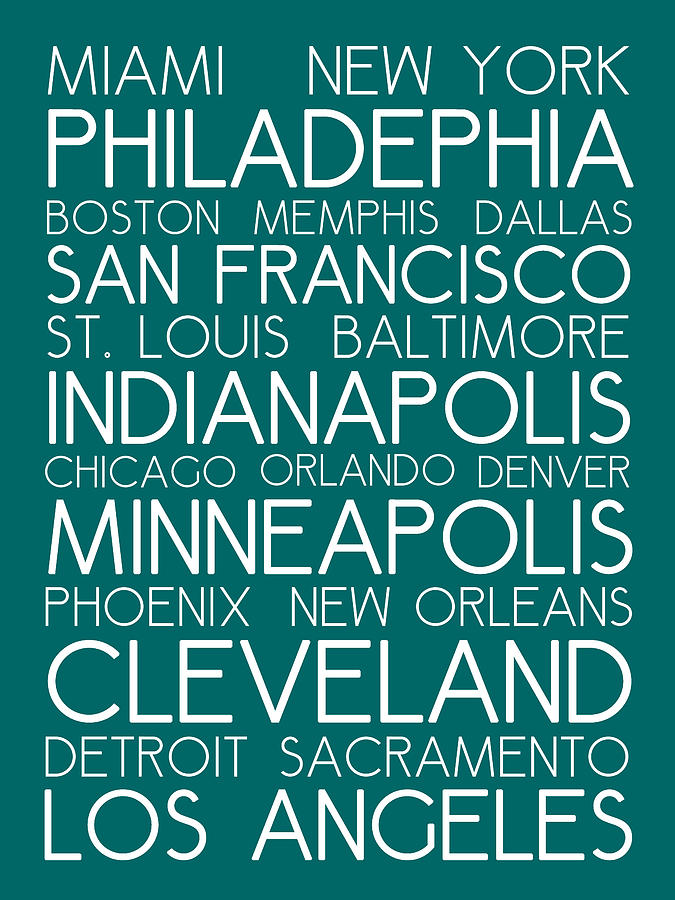 American Cities In Bus Roll Destination Map Style Poster - Green Painting